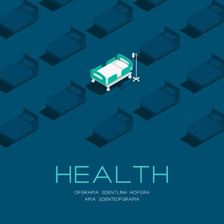 Hospital or medical Bed 3d isometric pattern, Healthcare concept poster and social banner post square design illustration isolated on blue background with copy space, vector eps 10