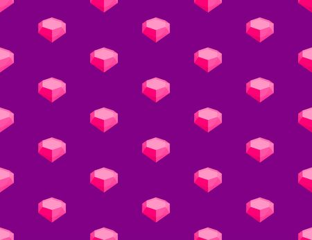 Diamond 3D isometric seamless pattern, Marriage jewelry concept poster and social banner post square design illustration isolated on purple background with copy space, vector eps 10