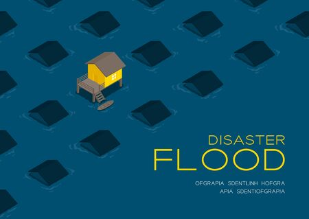 House living with boat 3d isometric pattern, Flood disaster concept poster and social banner post horizontal design illustration isolated on blue background with copy space, vector eps 10 向量圖像