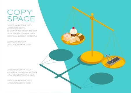 Cake, Electric treadmill on Scales 3D isometric pattern, Bakery healthy diet or lose weight concept poster and social banner horizontal post design illustration isolated on green background, vector