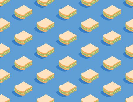 Sandwich 3D isometric seamless pattern, Breakfast bakery concept poster and social banner post design illustration isolated on blue background with copy space, vector eps 10