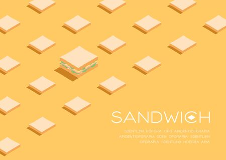 Sandwich with Slice bread 3D isometric pattern, Breakfast bakery concept poster and social banner post horizontal design illustration isolated on cream background with copy space, vector eps 10