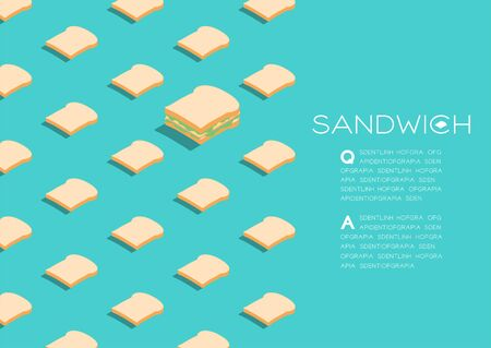 Sandwich with Slice bread 3D isometric pattern, Breakfast bakery concept poster and social banner post horizontal design illustration isolated on green background with copy space, vector eps 10
