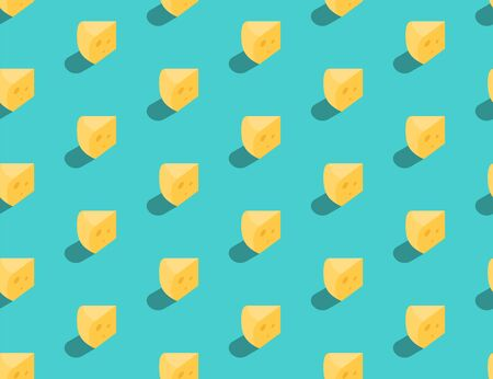 Gouda cheese 3D isometric seamless pattern, Dairy product concept poster and social banner post design illustration isolated on green background with copy space, vector eps 10