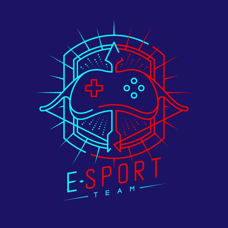 Esport logo icon outline stroke in shield radius frame, Joypad or Controller gaming gear with Archer design illustration isolated on dark blue background with Esport Team text and copy space, vector