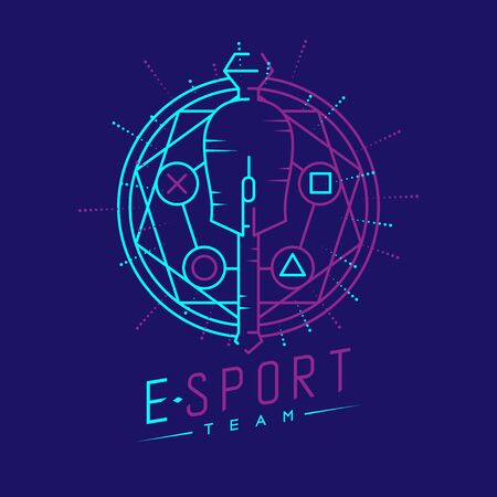 Esport logo icon outline stroke in magic circle frame, mouse gaming gear scepter magical design illustration isolated on dark blue background with Esport Team text and copy space, vector eps 10