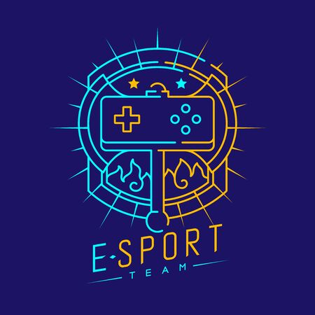 Esport logo icon outline stroke in shield radius frame, Joypad or Controller gaming gear with axe design illustration isolated on dark blue background with Esport Team text and copy space, vector eps
