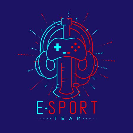 Esport streamer logo icon outline stroke, Joypad or Controller gaming gear with headphones, microphone and radius sword design isolated on blue background with Esport Team text and copy space, vector Ilustração