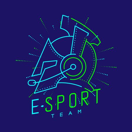 Esport streamer logo icon outline stroke, Joypad or Controller gaming gear with headphones, microphone and radius helmet armor design on blue background with Esport Team text and copy space, vector