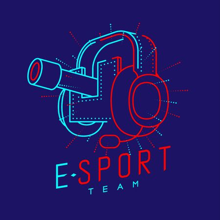 Esport streamer logo icon outline stroke, Headphones gaming gear with microphone and radius cannon design isolated on blue background with Esport Team text and copy space, vector eps 10