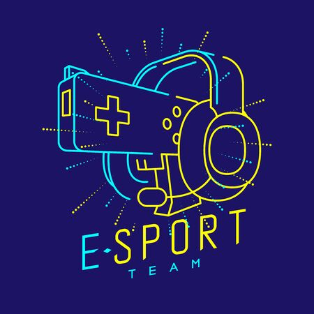 Esport streamer logo icon outline stroke, Joypad or Controller gaming gear with headphones, microphone and radius gun design isolated on blue background with Esport Team text and copy space, vector