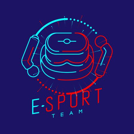 Esport logo icon outline stroke in radius controller frame, VR head set gaming gear design illustration isolated on dark blue background with Esport Team text and copy space, vector eps 10 Ilustração