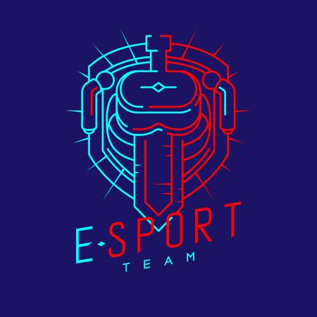 Esport logo icon outline stroke in radius shield frame, VR head set gaming gear and controller design illustration isolated on dark blue background with Esport Team text and copy space, vector eps 10