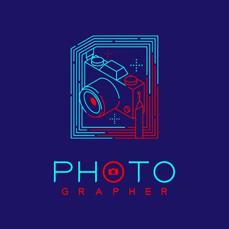 3D isometric Photographer logo icon outline stroke in photo frame made from neck strap camera design illustration isolated on dark blue background with Photographer text and copy space, vector eps 10