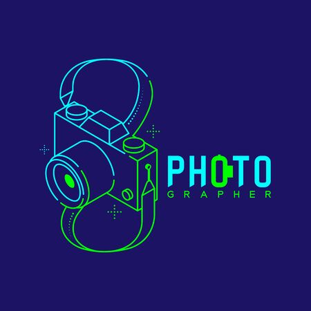 3D isometric Photographer logo icon outline stroke with infinity sign made from neck strap camera design illustration isolated on dark blue background with Photographer text and copy space, vector eps