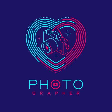3D isometric Photographer logo icon outline stroke in heart love frame made from neck strap camera design illustration isolated on dark blue background with Photographer text and copy space, vector