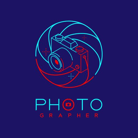 3D isometric Photographer logo icon outline stroke in shutter frame made from neck strap camera design illustration isolated on dark blue background with Photographer text and copy space, vector eps