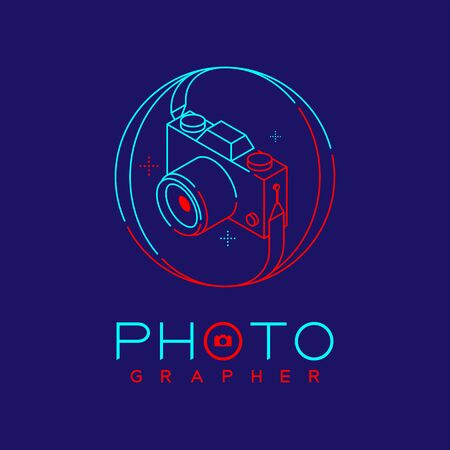3D isometric Photographer logo icon outline stroke in circle frame made from neck strap camera design illustration isolated on dark blue background with Photographer text and copy space, vector eps 10