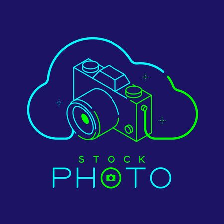 3D isometric Photographer logo icon outline stroke in cloud frame made from neck strap camera design illustration isolated on dark blue background with Stock Photo text and copy space, vector eps 10