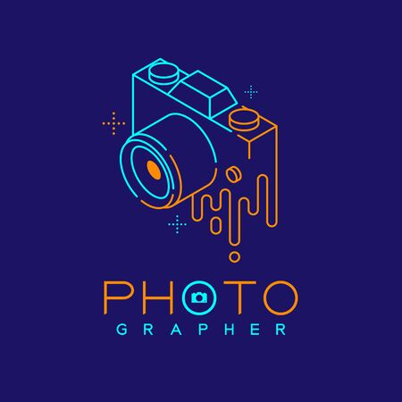 3D isometric Photographer logo icon outline stroke with melt camera design illustration isolated on dark blue background with Photographer text and copy space, vector eps 10
