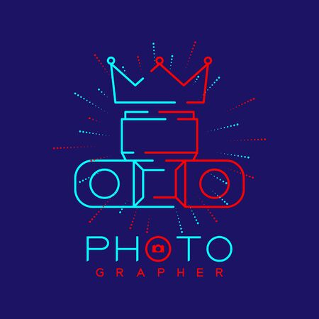 Photographer logo icon outline stroke with Crown of king camera design illustration isolated on dark blue background with Photographer text and copy space, vector eps 10 Ilustração