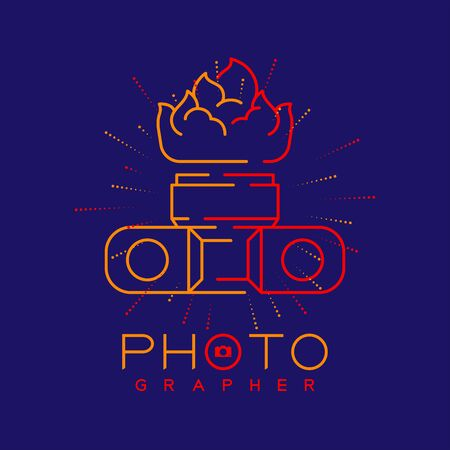 Photographer logo icon outline stroke with fire camera design illustration isolated on dark blue background with Photographer text and copy space, vector eps 10 Ilustração