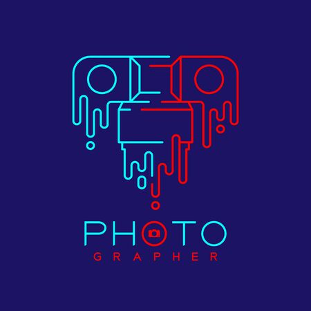 Photographer logo icon outline stroke with melt camera design illustration isolated on dark blue background with Photographer text and copy space, vector eps 10