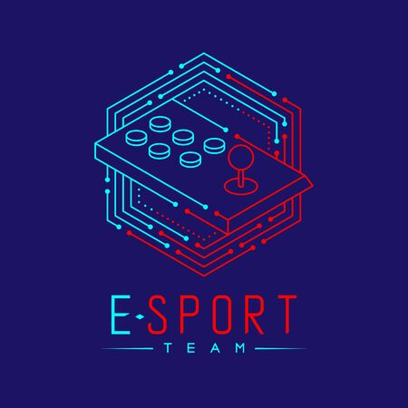 Esport logo icon outline stroke in hexagon frame, Arcade fighting gaming gear stick design illustration isolated on dark blue background with Esport Team text and copy space, vector eps 10