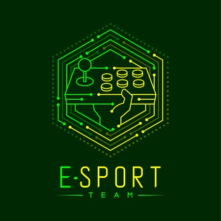Esport logo icon outline stroke in hexagon frame, Arcade fighting gaming gear stick with hand design illustration isolated on dark green background with Esport Team text and copy space, vector eps 10 Ilustração