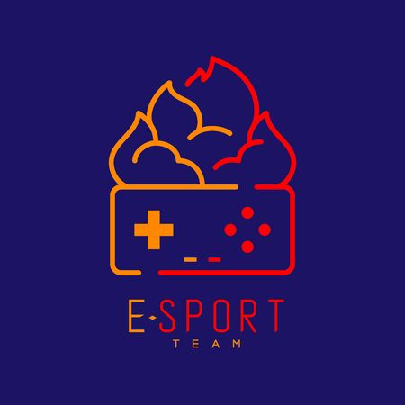 Esport logo icon outline stroke, retro Joypad or Controller gaming gear with fire design illustration isolated on dark blue background with Esport Team text and copy space, vector eps 10 Ilustração