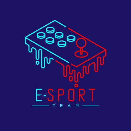 Esport logo icon outline stroke, Arcade fighting gaming gear stick melt design illustration isolated on dark blue background with Esport Team text and copy space, vector eps 10 Ilustração