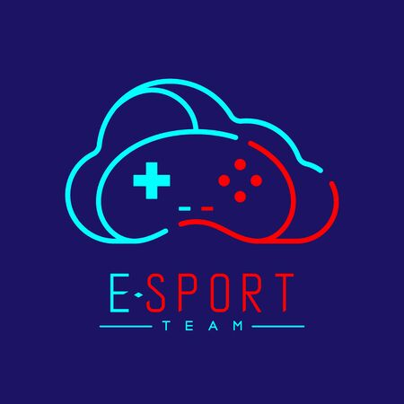 Esport logo icon outline stroke, retro Joypad or Controller gaming gear with cloud design illustration isolated on dark blue background with Esport Team text and copy space, vector eps 10