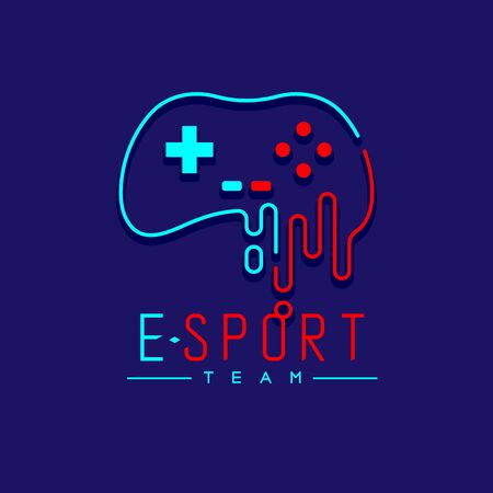 Esport logo icon outline stroke, retro Joypad or Controller gaming gear melt design illustration isolated on dark blue background with Esport Team text and copy space, vector eps 10 Ilustração