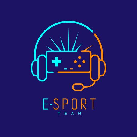 Esport streamer logo icon outline stroke, Joypad or Controller gaming gear with headphones, microphone and radius design isolated on blue background with Esport Team text and copy space, vector