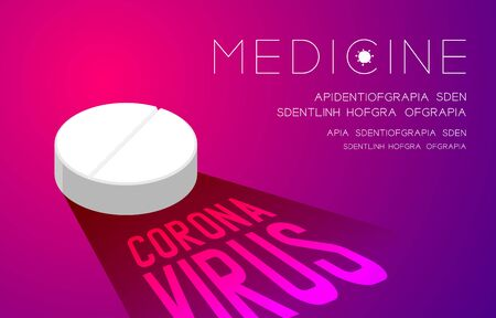 Medicine tablet with shadow and Coronavirus text, Pandemic coronavirus concept poster or social banner design illustration isolated on pink and purple gradients background with copy space, vector Ilustração
