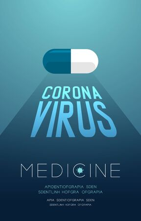 Medicine pill capsule with shadow and Coronavirus text, Pandemic coronavirus concept poster or social banner design illustration isolated on blue gradients background with copy space,