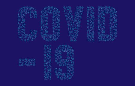 Covid-19 text from Medicine and equipment icon pattern outline stroke, Pandemic coronavirus concept poster or social banner design illustration isolated on dark blue background with copy space, vector Ilustração