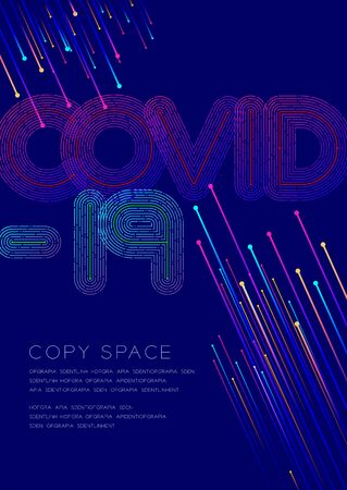 Covid-19 big text dot and dash line pattern layer overlay, Pandemic coronavirus, Poster banner or flyer template layout design illustration isolated on blue background with copy space,