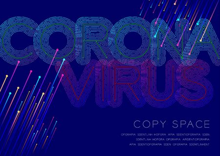 Coronavirus big text dot and dash line pattern layer overlay, Pandemic Covid-19, Poster banner or flyer template layout design illustration isolated on blue background with copy space, vector Ilustração