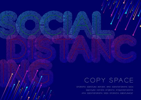 Social distancing big text dot and dash line pattern layer overlay, Pandemic covid-19 or coronavirus, Poster banner design illustration isolated on blue background with copy space, vector Ilustração