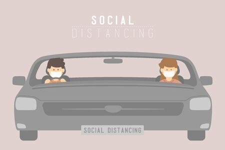 Man and woman with mask in car keep distance to protection covid-19 outbreak, Social distancing concept poster or social banner design illustration on background with copy space, vector