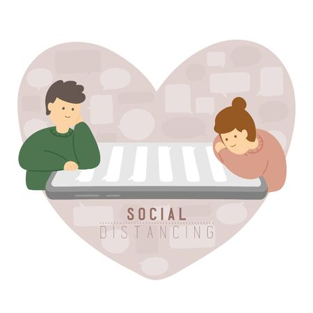 Quarantine Man and woman with chat smartphone keep distance to protection covid-19 outbreak, Social distancing stay at home concept poster or social banner illustration on heart background, copy space