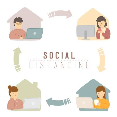Man and woman with laptop keep distance online meeting to protection covid-19 outbreak, Social distancing work from home concept poster or social banner illustration on background, copy space, vector