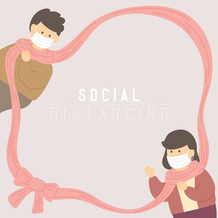 Man and woman with frame scarf or scarves keep distance to protection covid-19 outbreak, Social distancing concept poster or social banner design illustration on background, copy space, vector