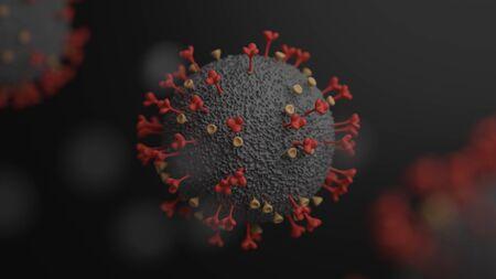 Covid-19 or coronavirus microscope 3D rendering