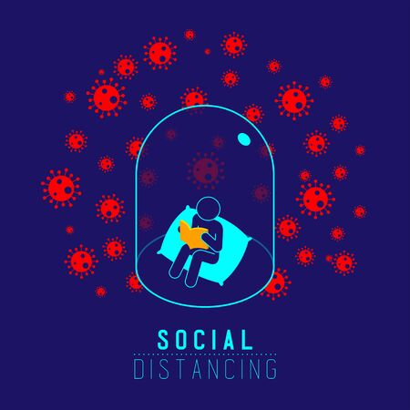 Quarantine introvert Man sign pictogram reading book keep distance to protection COVID-19 virus outbreak, Social distancing stay at home poster or banner illustration on background, copy space, vector