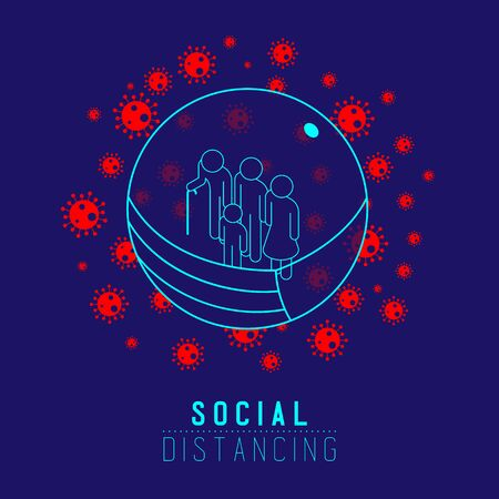 Quarantine Family Man sign pictogram keep distance to protection COVID-19 virus outbreak, Social distancing stay at home poster or banner illustration on blue background with copy space, vector