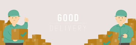 Good delivery man and woman with goods box, Social distancing keep distance to protection COVID-19 outbreak stay at home online shopping poster or banner illustration on background, copy space, vector