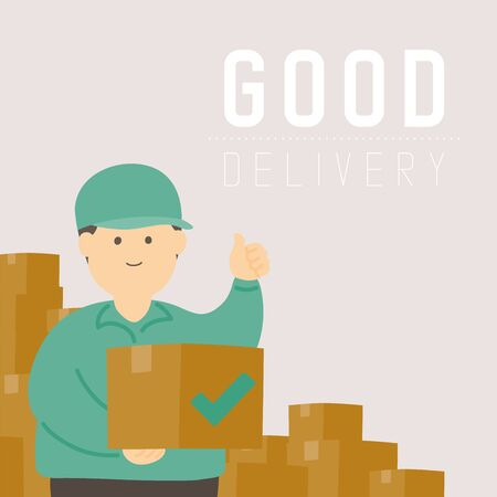 Good delivery man with goods box, Social distancing keep distance to protection COVID-19 outbreak stay at home online shopping concept poster or banner illustration on background, copy space, vector