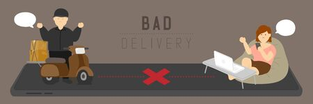 Bad delivery man with GPS navigation, Social distancing COVID-19 stay at home online shopping in digital marketing from smartphone application concept poster or banner illustration vector, copy space